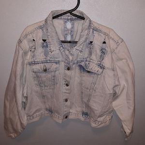Vintage Stefano White Washed Denim Jean Jacket